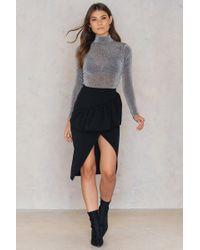 Boohoo - Ruffle Front Split Skirt Black - Lyst