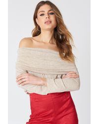 NA-KD - Offshoulder Light Knitted Sweater - Lyst