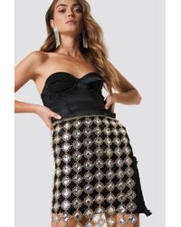 NA-KD - Crystal Decorated Skirt Gold - Lyst