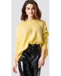 NA-KD - Wide Knitted Melange Jumper Yellow - Lyst