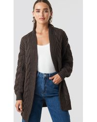 NA-KD - Chunky Cable Knit Long Cardigan Brown - Lyst
