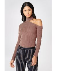 NA-KD - High Neck Cut Out Shoulder Sweater Dusty Dark Pink - Lyst