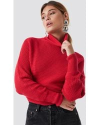 NA-KD - Folded Knitted Sweater Red - Lyst