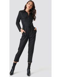 Trendyol - Binding Detailed Jumpsuit Black - Lyst