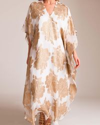 Marie France Van Damme - Silk Metallic Flower Caftan - Lyst