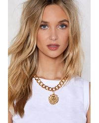 """Nasty Gal - """"gold Lion Pendant Necklace"""" - Lyst"""