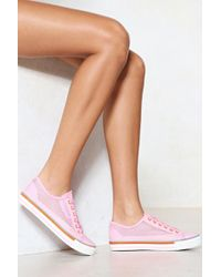 Nasty Gal | Net Over It Vegan Leather Trainer | Lyst