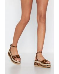 Nasty Gal - What Goes Up Leopard Platform Sandal - Lyst