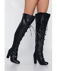 bef0893446c Nasty Gal - It s Secured Buckle Over-the-knee Boot - Lyst