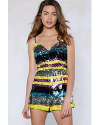 Nasty Gal - I'm So Excited Sequin Romper - Lyst