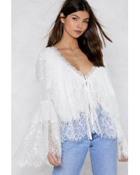 Nasty Gal - Lace Me Oversized Blouse - Lyst