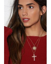 Nasty Gal - Can't Cross Here Layered Necklace - Lyst