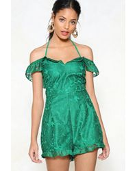 Nasty Gal - Greatest Lace Of All Cold Shoulder Romper - Lyst
