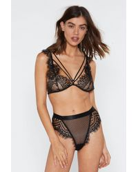 Nasty Gal - God Is A Woman Strappy Lace Bralette And Panty Set - Lyst