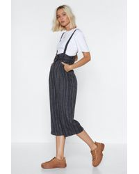 Nasty Gal - Totally Suspender Striped Overalls - Lyst