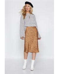 Nasty Gal - Spotty Check Satin Midi Skirt - Lyst