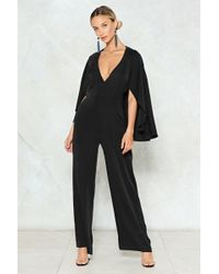 05d7e76331ca Nasty Gal Hit Below The Belt Plunging Jumpsuit in White - Lyst
