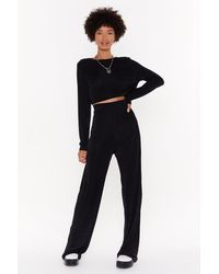 """Nasty Gal """"just The Two Of Us Crop Top And Wide-leg Pants Set"""" - Black"""