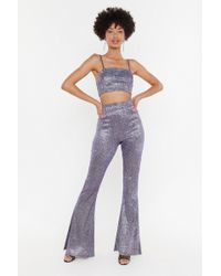 Nasty Gal - Let's Groove Glitter Crop Top And Pants Set - Lyst