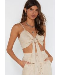 Nasty Gal Knot It Linen Crop Top - Multicolour