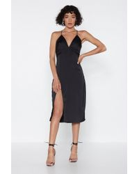 Nasty Gal - Leg Up On The Competition Satin Dress - Lyst