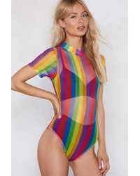 Nasty Gal - As High As The Rainbow Mesh Bodysuit - Lyst