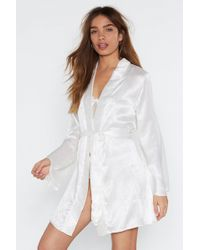 Nasty Gal - In For The Night Satin Jacquard Robe - Lyst