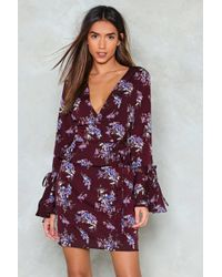 Nasty Gal - Floral Ruffle Wrap Mini Dress Floral Ruffle Wrap Mini Dress - Lyst