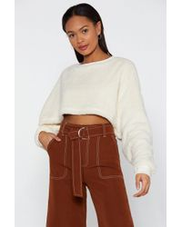 "Nasty Gal - ""crop Topic Fluffy High Neck Sweater"" - Lyst"