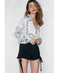 Nasty Gal | Lace-up To The Facts Denim Shorts | Lyst
