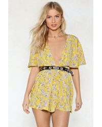 Nasty Gal - Cape In Touch Floral Romper - Lyst