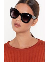 "Nasty Gal ""lookin' Fur The Party Oversized Cat-eye Sunglasses"" - Black"