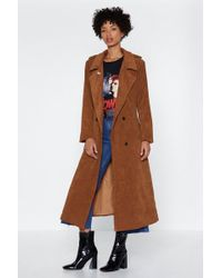 Nasty Gal - Cover Ground Corduroy Trench Coat - Lyst