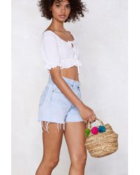 Nasty Gal - Want Pom And Collected Straw Bucket Bag - Lyst