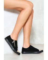 Nasty Gal - Vegan Suede Zip Detail Lace Up Sneaker Vegan Suede Zip Detail Lace Up Sneaker - Lyst