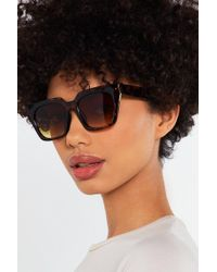 Nasty Gal - Tortoiseshell Squared Sunglasses - Lyst