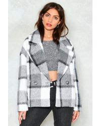 Nasty Gal - Short Check Coat Short Check Coat - Lyst