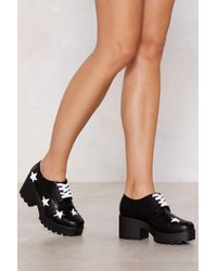 Nasty Gal - You're Gonna Go Star Lace-up Shoe - Lyst