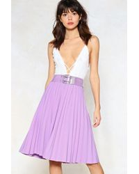 Nasty Gal - Pleat Stay Midi Skirt - Lyst