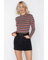 Nasty Gal - Stripe Of Way Ribbed Bodysuit - Lyst