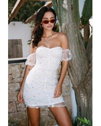 Nasty Gal - Put A Spring On It Embroidered Puff Sleeve Dress - Lyst