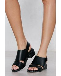 Nasty Gal - Stud Out Faux Leather Sandal - Lyst