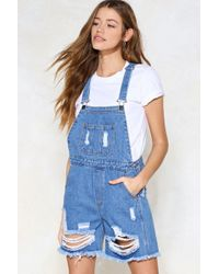 Nasty Gal | Caught Short Distressed Overalls | Lyst