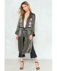 Nasty Gal - Floral Satin Duster Floral Satin Duster - Lyst