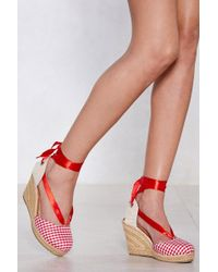 """Nasty Gal - """"in The Park Gingham Espadrille Wedge"""" - Lyst"""