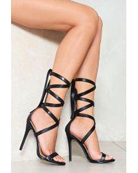 Nasty Gal - Vegan Leather Tie Up Heeled Sandals Vegan Leather Tie Up Heeled Sandals - Lyst
