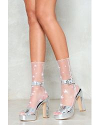 Nasty Gal - The Star Attraction Mesh Socks - Lyst