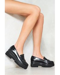 Nasty Gal - Dropout Faux Leather Platform Loafer - Lyst