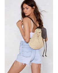 Nasty Gal - Tie The Knot Woven Backpack - Lyst