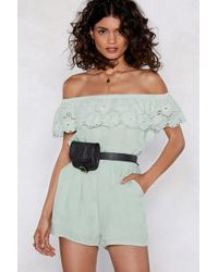 Nasty Gal - You Seem A Little Off-the-shoulder Romper - Lyst